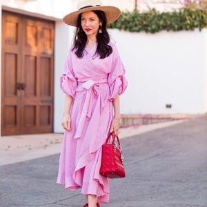 Dresses & Skirts - Pink Striped Wrap Dress